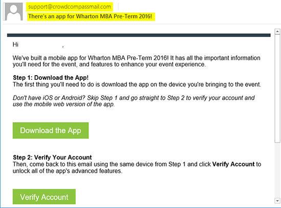Pre-term app invitation email