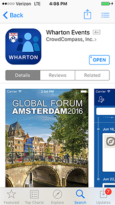 Wharton Events app in Apple Store